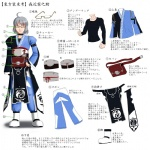 1boy accessories ahoge character_sheet diagram fanny_pack glasses grey_hair highres male_focus morichika_rinnosuke pants touhou translation_request yoshio
