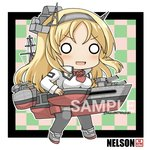 1girl blonde_hair character_name checkered checkered_background commentary_request flower full_body grey_legwear headgear kantai_collection long_hair machinery mayuki_(nami1120) military military_uniform nelson_(kantai_collection) o_o red_flower red_rose rose sample solo standing thighhighs turret twitter_username uniform