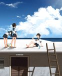3girls annin_musou barefoot basin black_eyes black_hair blue_sailor_collar blue_skirt blue_sky bottle cloud commentary_request day fubuki_(kantai_collection) hatsuyuki_(kantai_collection) highres horizon house kantai_collection ladder long_hair low_ponytail miyuki_(kantai_collection) multiple_girls ocean outdoors paper_airplane pleated_skirt ponytail ramune rooftop sailor_collar scenery school_uniform serafuku short_hair short_ponytail sidelocks sitting skirt sky standing wavy_hair