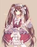 1girl bow brown_eyes brown_hair character_name dress floral_print flower gothic_wa_mahou_otome hair_bow hairband lolita_fashion lolita_hairband long_hair long_sleeves looking_at_viewer ranun_(gothic_wa_mahou_otome) red_bow red_dress rento_(rukeai) rose rose_print smile solo transparent_sleeves twintails white_bow white_legwear