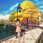 1girl animal architecture autumn autumn_leaves bench bird black_hair blue_sky boat building canal car cellphone closed_eyes cloud cloudy_sky commentary_request day earphones falling_leaves fence flag flock ground_vehicle hand_in_hair hand_up highres holding holding_cellphone holding_phone jewelry lamppost leaf leaning leaning_on_object listening_to_music motor_vehicle necklace orange_shirt orange_skirt original ost02 outdoors park_bench phone pleated_skirt polka_dot_skirt red_footwear reflection road scenery shadow shirt short_hair sidewalk skirt sky smartphone solo standing street tile_floor tiles tree wake water watercraft
