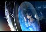 1boy against_glass bad_id bad_pixiv_id brown_hair collarbone commentary computer crying earth highres kurono_kuro letterboxed male_focus original reflection sad solo space space_craft spacesuit tears window