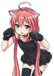 1girl ahoge animal_ears bangs bare_shoulders bell bell_choker black_choker black_dress black_legwear blush cat_ears choker collarbone dress eyebrows_visible_through_hair fang gloves hair_between_eyes highres hinata_channel jd_(bibirijd) jingle_bell leaning_forward long_hair low_twintails nekomiya_hinata parted_lips paw_gloves paws pink_hair simple_background sleeveless sleeveless_dress solo thighhighs twintails very_long_hair virtual_youtuber white_background