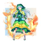 1girl apron arm_ribbon art_supplies bangs between_fingers blue_hair breasts dress dual_wielding eyebrows_visible_through_hair fire flower frilled_apron frilled_dress frilled_hat frilled_sleeves frills full_body gradient green_apron green_headwear green_ribbon hammer haniyasushin_keiki hat head_scarf headdress highres holding holding_hammer holding_knife jewelry knife long_hair looking_at_viewer magatama magatama_necklace necklace open_mouth pliers pocket puffy_sleeves purple_eyes ribbon sandals simple_background smile solo standing tools touhou vh(yuv-achi) yellow_dress