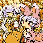 2girls animal_hood bread bunny_hood button_eyes cat cat_hood cel_shading creature eating food hood lavender_hair multiple_girls original red_eyes short_hair yakitatepannomimi