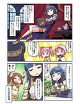 4girls ;d bangs blue_eyes blue_hair blunt_bangs book breastplate brown_hair choker comic cup hair_ribbon kaname_madoka long_hair magia_record:_mahou_shoujo_madoka_magica_gaiden magical_girl mahou_shoujo_madoka_magica midriff multiple_girls nanami_yachiyo one_eye_closed one_side_up open_mouth orange_eyes papa pink_hair pink_ribbon ribbon short_twintails sitting smile table tamaki_iroha teacup teapot translation_request twintails waving yui_tsuruno