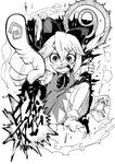 (9) 1girl angry bangs blackcat_(pixiv) bloomers bow bowtie cirno dress fog frog frozen_frog greyscale hair_between_eyes hair_bow highres ice ice_wings monochrome open_mouth pinafore_dress pointing shirt short_hair short_sleeves snot snot_trail socks touhou traditional_media underwear wings