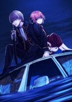 1boy 1girl back-to-back black_footwear black_jacket black_pants blazer blue_eyes brown_hair brown_pants brown_shirt car gintama ground_vehicle holding holding_sheath jacket kagura_(gintama) long_sleeves looking_back motor_vehicle night night_sky okita_sougo on_vehicle open_blazer open_clothes open_jacket orange_hair outdoors pants sheath sheathed shinsengumi_(gintama) shiny shiny_hair shirt short_hair sitting sky smile szzz_k white_neckwear