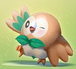 ;d beak bird black_eyes blush bright_pupils gen_7_pokemon gradient gradient_background green_background leaf leg_up looking_at_viewer mikomiko_(mikomikosu) no_humans one_eye_closed open_mouth owl pokemon pokemon_(creature) rowlet shadow smile standing standing_on_one_leg talons