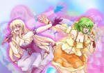 2girls angry arm_garter bad_proportions blonde_hair breasts choker cleavage corset cosplay dress endou_aya gloves green_hair kazami_yuuka lace lace-trimmed_thighhighs leaning_forward long_hair macross macross_frontier medium_breasts microphone midriff mokei multiple_girls open_mouth orange_dress parody purple_eyes purple_legwear ranka_lee ranka_lee_(cosplay) red_eyes ribbon seiyuu_connection sheryl_nome sheryl_nome_(cosplay) short_hair skirt thighhighs touhou yakumo_yukari zoom_layer