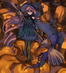 1girl black_dress blue_eyes broom brown_hair bubble_skirt dress elbow_gloves gloves halloween hat long_hair lowres original pantyhose pocchin pumpkin scarf skirt solo witch witch_hat