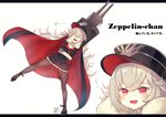 azur_lane bangs cape character_name closed_eyes commentary full_body fur-trimmed_cape fur_trim graf_zeppelin_(azur_lane) hat high_heels holding holding_weapon iron_cross letterboxed long_hair long_sleeves looking_at_viewer military_hat open_mouth pantyhose red_eyes sakurai_kouji sidelocks smile translated weapon white_hair zeppelin-chan_(azur_lane)