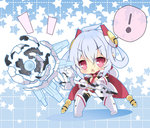 ! 1girl ahoge chibi hair_ornament holding looking_at_viewer matoi_(pso2) milkpanda phantasy_star phantasy_star_online_2 red_eyes silver_hair solo spoken_exclamation_mark staff