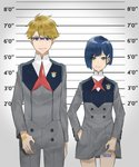 1boy 1girl barcode_tattoo blonde_hair blue-framed_eyewear blue_hair brown_eyes darling_in_the_franxx error eyebrows_visible_through_hair glasses gorou_(darling_in_the_franxx) green_eyes hair_ornament hairclip hand_in_pocket height_chart highres ichigo_(darling_in_the_franxx) kaz_(kaazzz0416) lifted_by_self lineup mugshot short_hair smile smirk tattoo uniform