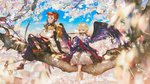 2boys armor barefoot bird_wings black_hakama black_wings blonde_hair blue_eyes blue_sky blurry blurry_foreground brown_hair cherry_blossoms crossed_legs daitengu_(onmyoji) dappled_sunlight day depth_of_field fan flower flute hakama highres in_tree instrument japanese_armor japanese_clothes kariginu katana kimono long_hair long_sleeves male_focus minamoto_no_hiromasa multicolored_hair multiple_boys music onmyoji outdoors playing_instrument red_eyes red_hair say_hana shoes shoulder_armor sitting sitting_in_tree sky smile sode sunlight sword tassel tengu tree two-tone_hair weapon white_hakama wide_sleeves wings