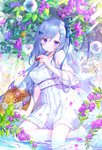 blue_eyes blue_hair blue_ribbon blush breasts bubble_blowing bug butterfly cleavage commentary dress emori_miku emori_miku_project flower frilled_dress frills hair_flower hair_ornament hair_ribbon hat heart ibara_riato insect looking_at_viewer medium_breasts multicolored multicolored_background open_mouth ribbon shiny shiny_clothes shiny_skin short_dress soaking_feet straw_hat striped striped_ribbon tree water wet white_dress