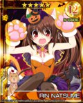 1girl animal_ears brown_hair cat cat_ears fangs gloves halloween hat ikeda_jun_(aquaqua) jack-o'-lantern leotard little_busters! long_hair natsume_rin paw_gloves ponytail red_eyes witch_hat