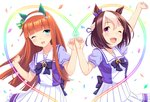 2girls ;d animal_ears arm_up bangs blunt_bangs blush bow bowtie braid breasts brown_hair collarbone commentary_request confetti ear_covers ear_ribbon eyebrows_visible_through_hair floating_hair french_braid frilled_skirt frills green_eyes hair_between_eyes hair_bow hair_ribbon hairband hands_up head_tilt heart high-waist_skirt highres hime_cut horse_ears long_hair looking_at_viewer multicolored_hair multiple_girls one_eye_closed open_mouth orange_hair outstretched_arm pinky_swear pleated_skirt puffy_short_sleeves puffy_sleeves purple_bow purple_eyes purple_neckwear purple_ribbon ribbon school_uniform shiny shiny_hair short_hair short_sleeves sidelocks silence_suzuka simple_background skirt small_breasts smile special_week standing straight_hair tareme tomo_(user_hes4085) two-tone_hair umamusume white_background white_hair white_hairband white_skirt