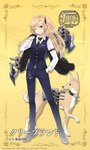 1girl anchor animal anniversary artist_request asymmetrical_bangs azur_lane bangs black_footwear black_jacket black_neckwear black_ribbon blonde_hair blue_pants blue_vest blush cannon chain cleveland_(azur_lane) collared_shirt commentary_request dog dog_request eyebrows_visible_through_hair formal full_body hair_ribbon hand_in_pocket hand_up holding holding_jacket jacket jacket_removed long_hair long_sleeves necktie official_art one_eye_closed one_side_up over_shoulder pant_suit pants red_eyes ribbon shirt shoes solo standing star striped striped_neckwear suit turret vertical-striped_neckwear vertical_stripes very_long_hair vest white_shirt
