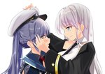2girls azur_lane bangs black_coat black_neckwear blue_hair blush breasts coat collared_shirt commentary_request crying crying_with_eyes_open dressing_another enterprise_(azur_lane) essex_(azur_lane) eye_contact eyebrows_visible_through_hair hair_between_eyes hand_on_another's_face hat long_hair looking_at_another multiple_girls necktie red_neckwear schreibe_shura shirt simple_background smile star tears twintails white_background white_hair white_shirt yellow_eyes