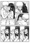 1boy 1girl 774_(nanashi) bandaged_arm bandages blood blush breast_press breasts comic couple eye_contact greyscale hand_on_head hetero holding_hands hug hyuuga_hinata incipient_kiss large_breasts long_hair looking_at_another monochrome naruto nosebleed nude one_eye_closed translated uzumaki_naruto wet