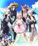 1girl 4boys berserker_(fate/zero) blue_sky bob_cut bow_swimsuit breasts cleavage cloud dress_swimsuit dual_persona family fate/grand_order fate/requiem fate/zero fate_(series) father_and_daughter father_and_son food fruit galahad_(fate) galahad_alter glasses gold_necklace grey_swimsuit hair_over_one_eye hat innertube jacket jewelry lancelot_(fate/grand_order) long_hair male_swimwear mash_kyrielight multiple_boys necklace ocean open_clothes open_jacket pink_hair purple_hair short_hair silver_hair sky straw_hat swim_trunks swimsuit swimsuit_of_perpetual_summer swimwear taking_picture tan uma_(nabeuma) very_long_hair wading watermelon wetsuit yellow_eyes