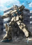artist_name blue_sky building city cloud commentary_request damaged debris glowing gundam gundam_08th_ms_team gundam_ez8 motion_blur no_humans red_eyes rubble science_fiction sky skyscraper wa-kun