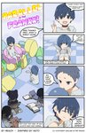3boys 3girls 4koma animal animal_hug arms_on_knees ball bangs black_hair blue_eyes blue_hair book bunny child closed_eyes collar colored comic commentary darling_in_the_franxx english english_commentary grey_footwear grey_shirt grey_shorts heiach highres hiro_(darling_in_the_franxx) holding holding_ball ichigo_(darling_in_the_franxx) looking_at_another mitsuru_(darling_in_the_franxx) multiple_boys multiple_girls no_socks open_book parody pointing pointing_up purple_eyes shirt shoes short_hair shorts silver_hair sitting speech_bubble stuffed_animal stuffed_toy style_parody teddy_bear twintails younger zero_two_(darling_in_the_franxx)