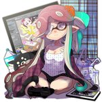 +_+ 3girls aori_(splatoon) bag breasts casual caught cephalopod_eyes chemise cleavage commentary_request controller domino_mask eyepatch food game_controller gradient_hair highres implied_yuri inkling isamu-ki_(yuuki) lingerie long_hair looking_at_viewer makeup mascara mask medium_breasts medium_hair mole mole_under_eye monitor multicolored_hair multiple_girls nightgown octoling pajamas panties pocky pointy_ears red_hair shopping_bag splatoon_(series) splatoon_2 tears tentacle_hair underwear