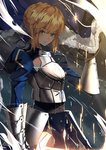 1girl absurdres ahoge armor armored_dress artoria_pendragon_(all) bangs blonde_hair blue_cloak blue_dress blue_ribbon braid breastplate cloak closed_mouth dress excalibur eyebrows_visible_through_hair fate/stay_night fate_(series) faulds french_braid fur-trimmed_cloak gauntlets glint glowing glowing_sword glowing_weapon green_eyes hair_between_eyes hair_bun hair_ribbon highres holding holding_sword holding_weapon juliet_sleeves light_particles long_sleeves looking_at_viewer lucky_(1045044604) puffy_sleeves ribbon saber serious shade shiny shiny_hair short_hair sidelocks solo standing sword weapon