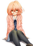 1girl ahoge black_legwear blue_skirt blush brown_eyes brown_hair chizza closed_mouth eyebrows_visible_through_hair frown glasses kuriyama_mirai kyoukai_no_kanata looking_at_viewer pantyhose short_hair sitting skirt solo