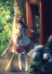 1girl bangs black_footwear blurry bow broom brown_eyes brown_hair commentary_request contrapposto cravat day depth_of_field detached_sleeves flower forest full_body hair_blowing hair_bow hair_tubes hakurei_reimu highres holding holding_broom hydrangea kotomi_alpaca lens_flare light_particles light_rays long_hair looking_at_viewer nature open_mouth outdoors parted_lips petticoat ponytail red_skirt red_vest ribbon-trimmed_skirt ribbon-trimmed_sleeves ribbon_trim sandals skirt skirt_set solo standing sunbeam sunlight tabi torii touhou vest white_legwear wind wind_lift yellow_neckwear