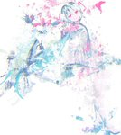 1girl abstract aqua_hair boots closed_mouth collared_shirt floating_hair full_body hair_between_eyes hair_ornament hatsune_miku limited_palette long_hair long_sleeves looking_at_viewer meola necktie paint_splatter pink_eyes shirt simple_background skirt smile solo thigh_boots thighhighs twintails very_long_hair vocaloid white_background white_footwear white_legwear zettai_ryouiki