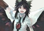1girl arm_cannon arm_up black_hair black_wings cape hair_ornament hair_ribbon ichiba_youichi long_hair looking_at_viewer open_mouth outstretched_arm portrait puffy_sleeves red_eyes reiuji_utsuho ribbon shirt short_sleeves simple_background smile solo third_eye touhou weapon wings