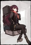 1girl :o absurdres bangs black_border black_jacket black_legwear blue_jacket blush boots border brown_footwear brown_hair brown_skirt commentary_request crossed_legs enpera eyebrows_visible_through_hair fringe_trim girls_frontline gloves hand_in_pocket hand_up highres homo_1121 jacket long_hair long_sleeves looking_at_viewer one_side_up open_clothes open_jacket open_mouth pantyhose pleated_skirt red_eyes red_scarf scarf shoe_soles sitting sketch skirt solo very_long_hair wa2000_(girls_frontline) white_gloves