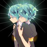 2others androgynous colored_eyelashes crystal_hair dual_persona elbow_gloves gem_uniform_(houseki_no_kuni) gloves glowing glowing_hair golden_arms green_eyes green_hair highres houseki_no_kuni hug hug_from_behind multiple_others necktie phosphophyllite short_hair upper_body