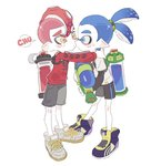 2boys blue_eyes blue_hair blush_stickers cheek_kiss closed_mouth hug inkling kiss long_sleeves male_focus mohawk multiple_boys noii octoling red_hair shoes shorts simple_background sneakers splatoon splatoon_2 super_smash_bros. super_smash_bros._ultimate tearing_up tentacle_hair thick_eyebrows yaoi yellow_eyes