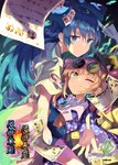 2girls blue_bow blue_eyes blue_hair bow character_name coat commentary_request cover debt eyewear_on_head hat hat_bow hood hoodie jewelry money multiple_girls necklace one_eye_closed orange_hair pendant siblings sisters sunglasses to-den_(v-rinmiku) top_hat touhou yellow_eyes yorigami_jo'on yorigami_shion