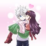 ;) alluka_zoldyck blue_eyes boots brown_hair carrying closed_eyes commentary_request heart hunter_x_hunter killua_zoldyck kyuutou_(kyuutouryuu) long_hair one_eye_closed princess_carry silver_hair smile thighhighs