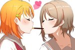 2girls ahoge bangs blouse blush brown_hair closed_eyes closed_mouth clover_hair_ornament commentary eyebrows_visible_through_hair facing_another food food_in_mouth hair_ornament heart highres love_live! love_live!_sunshine!! mouth_hold multiple_girls neckerchief orange_hair pocky pocky_kiss red_neckwear restart_(asasyan060805) school_uniform serafuku short_hair simple_background takami_chika watanabe_you white_background white_blouse yuri
