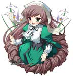 1girl :d bangs blush brown_hair calla_lily copyright_name corset dress drill_hair flat_chest flower frills green_dress green_eyes hat heterochromia lolita_fashion long_hair long_sleeves looking_at_viewer open_mouth red_eyes ribbon rozen_maiden shinshin smile solo suiseiseki twin_drills twintails very_long_hair white_background