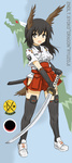 1girl adapted_uniform bad_id bad_pixiv_id black_hair commentary dakku_(ogitsune) full_body green_eyes head_wings katana nontraditional_miko solo standing strike_witches_1991 sword tail thighhighs uniform weapon world_witches_series