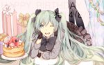 1girl 2014 chin_rest dated gift gloves green_eyes green_hair happy_birthday hatsune_miku long_hair lying manako_(manatera) on_stomach one_eye_closed open_mouth pantyhose paper_chain solo twintails very_long_hair vocaloid