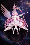 1girl arrow bow_(weapon) breasts cleavage collarbone dress gloves highres holding holding_weapon kaname_madoka long_hair mahou_shoujo_madoka_magica pink_hair plue_(coruru) small_breasts solo thighhighs ultimate_madoka weapon white_dress white_gloves white_legwear wings