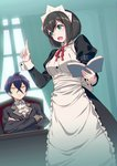 1boy 1girl 40hara aqua_eyes black_hair blush book breasts chair crossed_arms curtains hair_between_eyes highres indoors itou_chitose iya_na_kao_sare_nagara_kozukuri_sasete_moraitai maid maid_headdress open_book short_hair sitting table window yellow_eyes