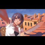 1boy 1girl black_eyes blue_sky breasts building cleavage closed_mouth commentary dress_shirt english_commentary ilya_kuvshinov lips original purple_hair reaching_out rooftop self_shot shadow shirt short_hair sitting sky