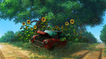 blue_sky broken car commentary_request day flower grass ground_vehicle motor_vehicle no_humans original oropi outdoors road scenery sky sunflower tree under_tree