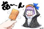 1girl animal_hood bangs black_jacket blue_bow blue_choker bow choker collarbone commentary_request eyebrows_visible_through_hair fate/grand_order fate_(series) fingernails food food_request hair_between_eyes highres holding holding_food hood hood_up hooded_jacket jacket long_hair meltryllis meltryllis_(swimsuit_lancer)_(fate) neon-tetora out_of_frame penguin_hood purple_hair shadow solo_focus sparkle translation_request white_background