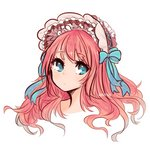 1girl blue_eyes blue_ribbon bonnet closed_mouth long_hair looking_at_viewer original osiimi portrait red_hair ribbon signature simple_background solo white_background
