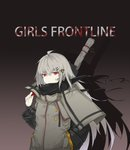 1girl absurdres bangs black_jacket black_scarf blood blood_on_face coat eyebrows_visible_through_hair girls_frontline grey_hair hair_between_eyes hair_ornament hair_ribbon hairclip hand_in_pocket highres holding_strap iws-2000_(girls_frontline) jacket kerxeno long_hair long_sleeves looking_at_viewer red_eyes ribbon scarf sidelocks solo weapon_bag wind